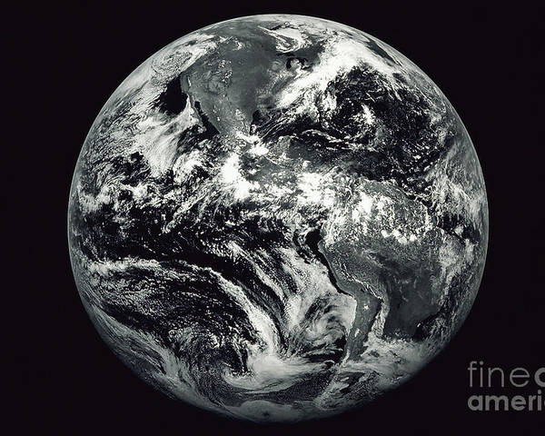 Horizontal Poster featuring the photograph Black And White Image Of Earth by Stocktrek Images