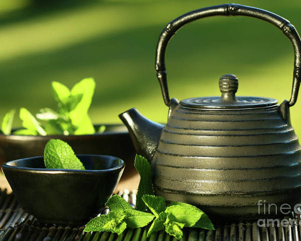 Asia Poster featuring the photograph Black Asian Teapot With Mint Tea by Sandra Cunningham