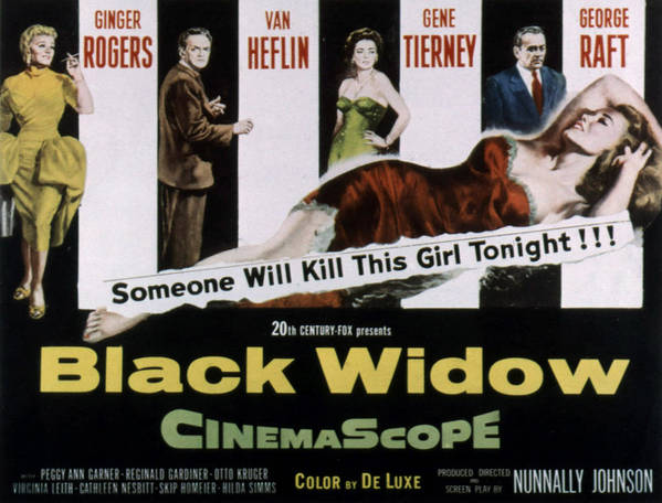 1950s Movies Poster featuring the photograph Black Widow, Ginger Rogers, Van Heflin by Everett