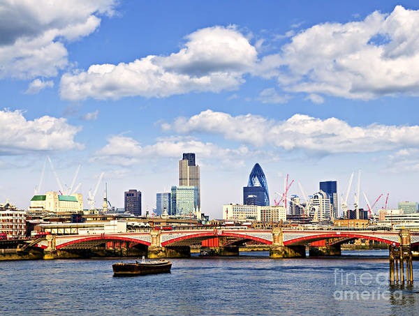 Blackfriars Poster featuring the photograph Blackfriars Bridge With London Skyline by Elena Elisseeva