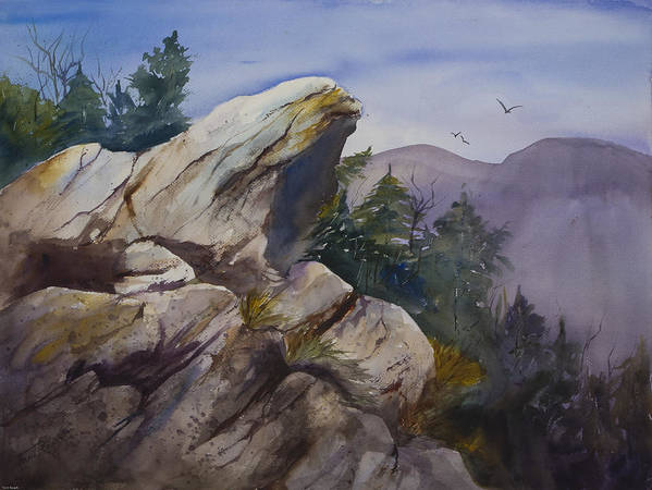 Watercolor Poster featuring the painting Blowing Rock Nc by Toni Roark