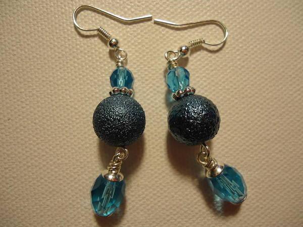 Greenworldalaska Poster featuring the photograph Blue Ball Sparkle Earrings by Jenna Green