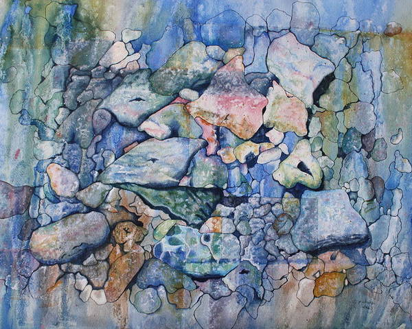 Stylized Under Water Still Life/landscape Poster featuring the painting Blue Creek Stones by Patsy Sharpe