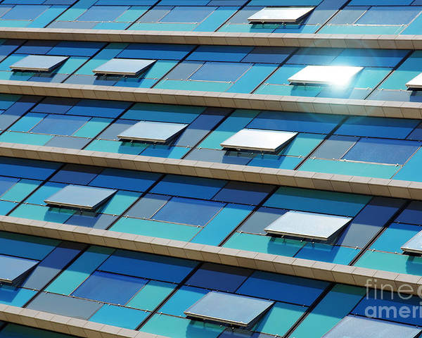 Abstract Poster featuring the photograph Blue Facade by Carlos Caetano