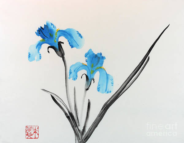 Blue Flower Poster featuring the painting Blue Iris I by Yolanda Koh