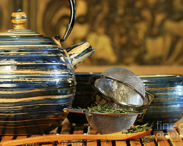 Asia Poster featuring the photograph Blue Japanese Teapot by Sandra Cunningham