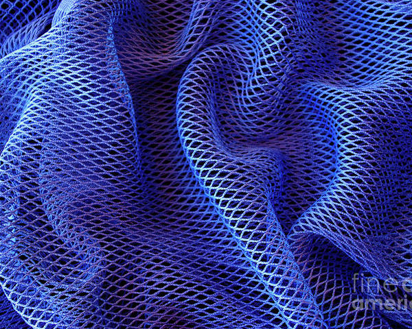 Abstract Poster featuring the photograph Blue Net Background by Carlos Caetano