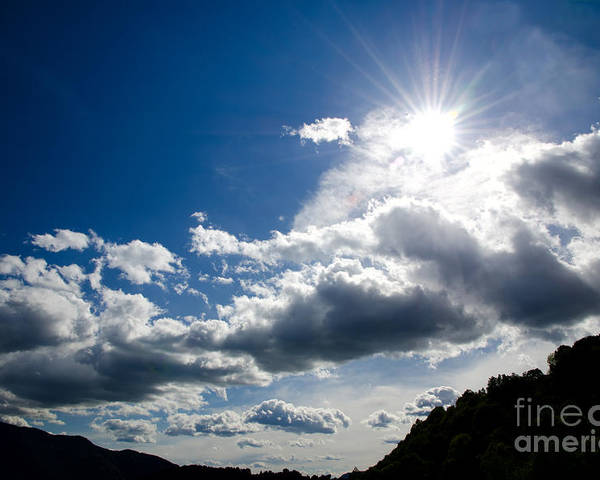Blue Poster featuring the photograph Blue Sky With Clouds by Mats Silvan