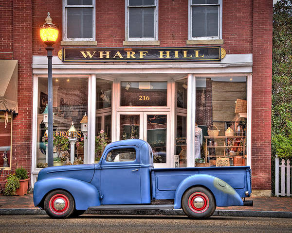 Smithfield Poster featuring the photograph Blue Truck On Main Street by Williams-Cairns Photography LLC