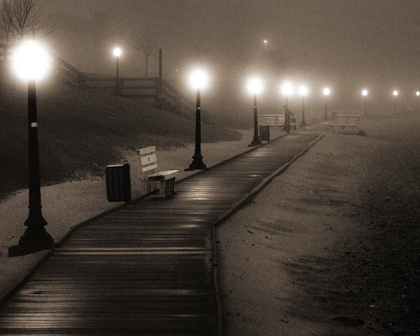 Algoma Poster featuring the photograph Boardwalk In The Fog by Bill Pevlor