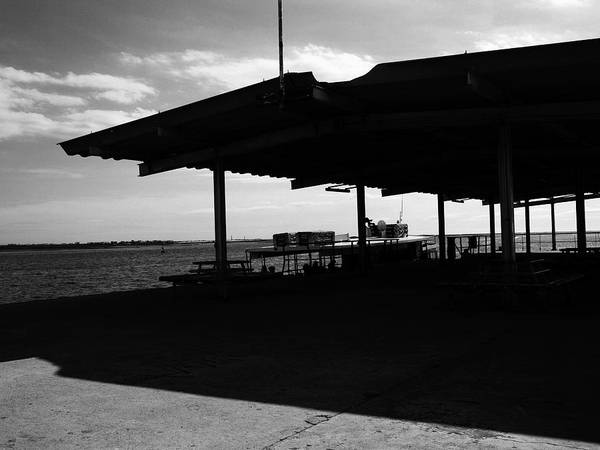 Black Poster featuring the photograph Boat At Pier Leaving Olhao To Amona Island Portugal In Black And White by Hedge
