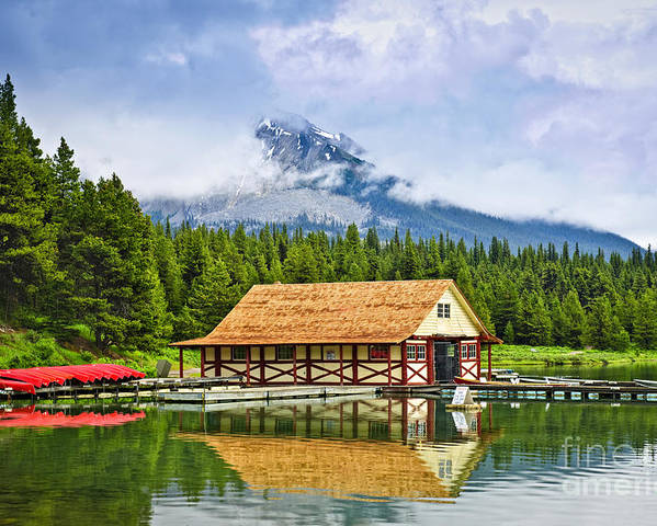 Boat House Poster featuring the photograph Boathouse On Mountain Lake by Elena Elisseeva