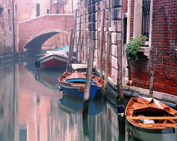 Boats Poster featuring the photograph Boats Bridge And Reflections In A Venice Canal by Greg Matchick
