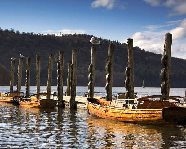 At The Pier Poster featuring the photograph Boats Docked On A Pier, Keswick by John Short
