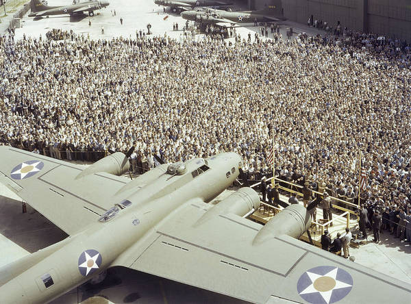Bomber Poster featuring the photograph Boeing Workers Gather To Hear A Pilot by J Baylor Roberts