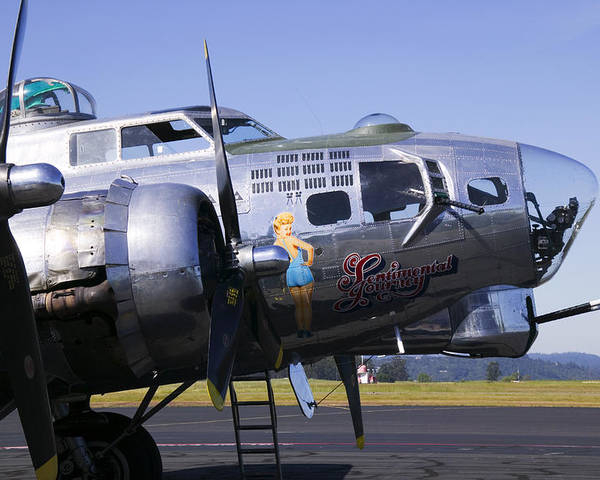 B-17g Sonoma Airport Poster featuring the photograph Bomber Sentimental Journey by Garry Gay