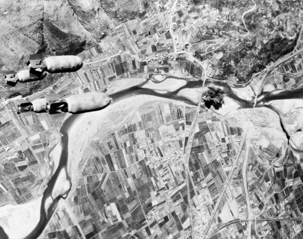 Birdseye View Poster featuring the photograph Bombs Hurtle Toward A Nazi Highway by Everett