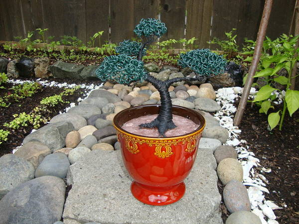 Tree Poster featuring the sculpture Bonsai Tree Medium Red Glass Vase Planter by Scott Faucett