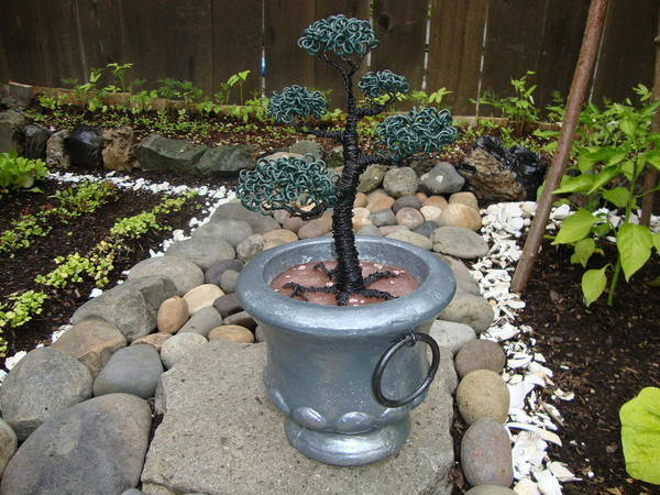 Tree Poster featuring the sculpture Bonsai Tree Medium Silver Vase by Scott Faucett