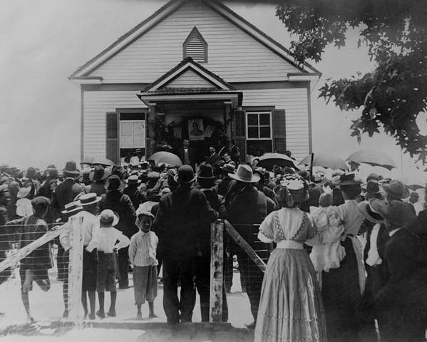 History Poster featuring the photograph Booker T. Washington Addressing Crowd by Everett