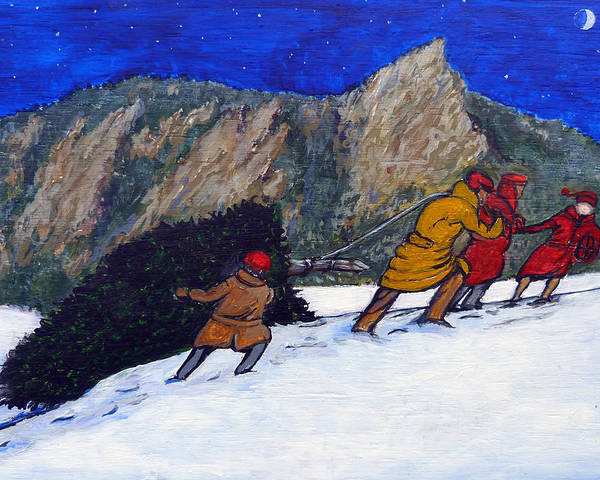 Flatirons Poster featuring the painting Boulder Christmas by Tom Roderick