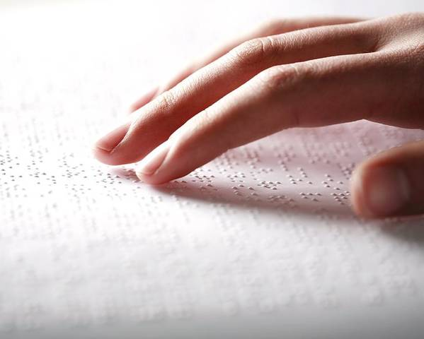 Human Poster featuring the photograph Braille Reading by Mauro Fermariello