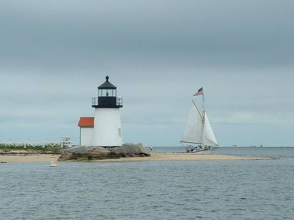 Sailboat Poster featuring the photograph Brant Point Abeam by Lin Grosvenor