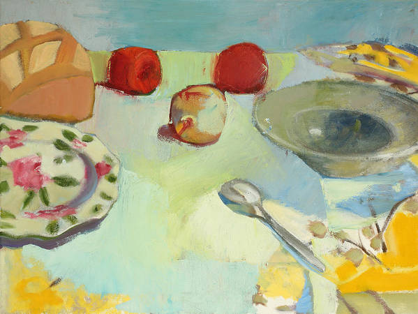 Still-life Poster featuring the painting Breaking Bread by Maralyn Adlin