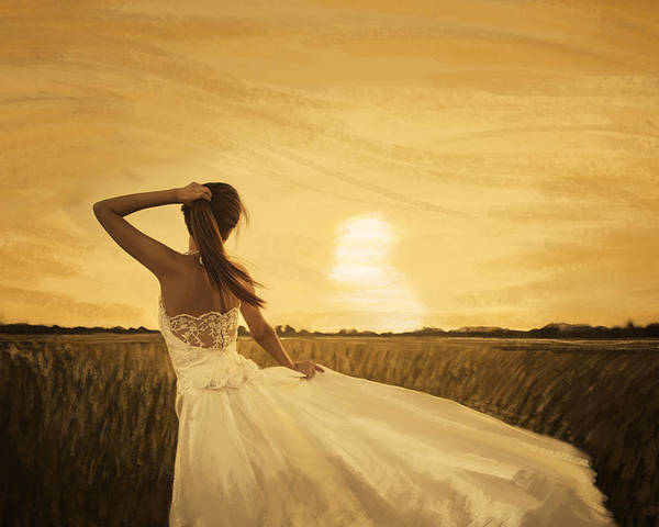 Adult Poster featuring the painting Bride In Yellow Field On Sunset by Setsiri Silapasuwanchai