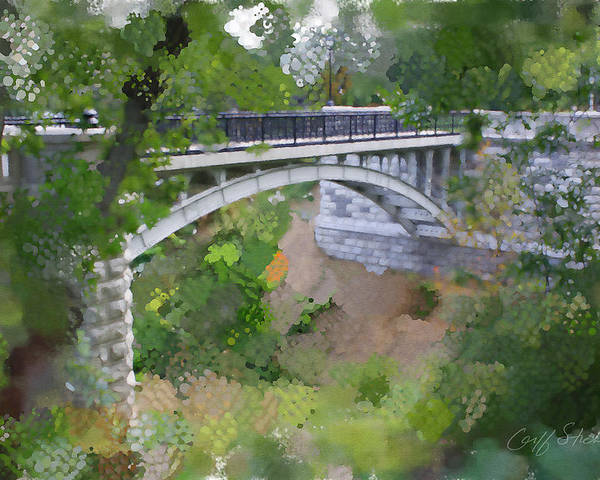 Lake Poster featuring the digital art Bridge At Lake Park by Geoff Strehlow