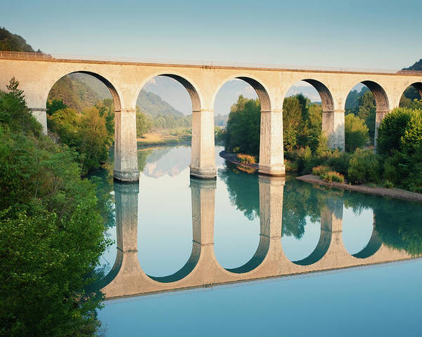 Horizontal Poster featuring the photograph Bridge Over The River Durance In Sisteron, France by Kirill Rudenko