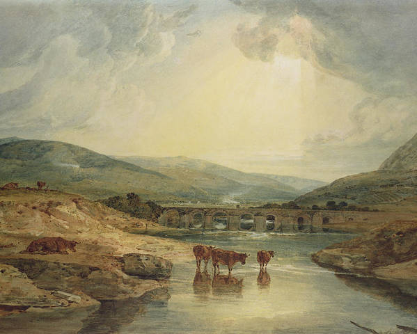 Aqueduct; Haystack; River Scene; Cattle; Landscape; Britain; Powys; Dyfed; Britain; Wales Poster featuring the painting Bridge Over The Usk by Joseph Mallord William Turner