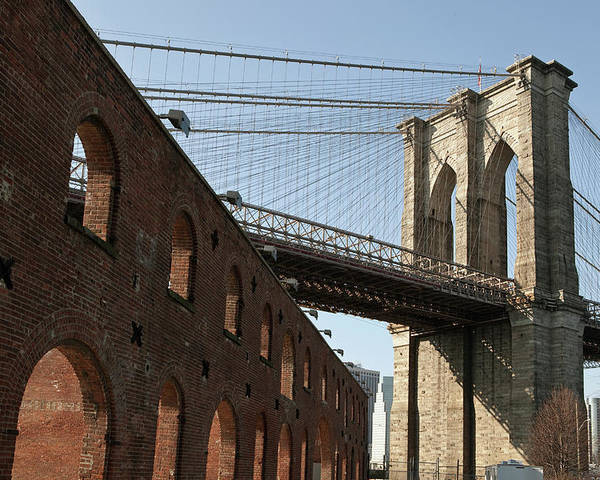 Horizontal Poster featuring the photograph Brooklyn Bridge & Empire Fulton Ferry State Park by Just One Film