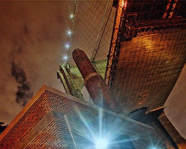 Brooklyn Bridge Poster featuring the photograph Brooklyn Bridge At Night by Alex AG