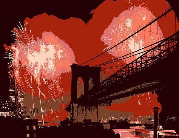 New York Poster featuring the photograph Brooklyn Bridge Fireworks Color 6 by Scott Kelley