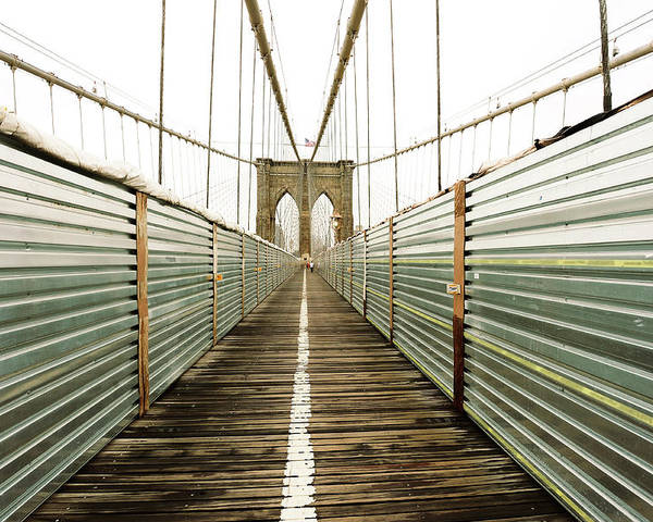 Horizontal Poster featuring the photograph Brooklyn Bridge by Ixefra