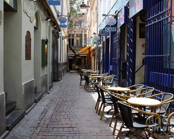 European Cafes Poster featuring the photograph Brussels Side Street Cafe by Carol Groenen