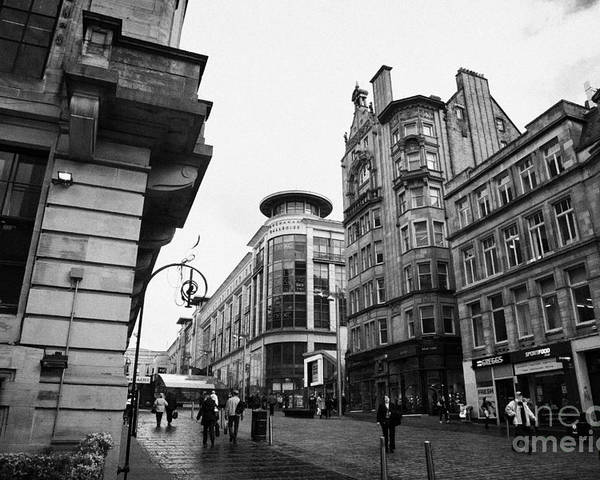 Buchanan Poster featuring the photograph Buchanan Street Shopping Area On A Cold Wet Day In Glasgow Scotland Uk by Joe Fox