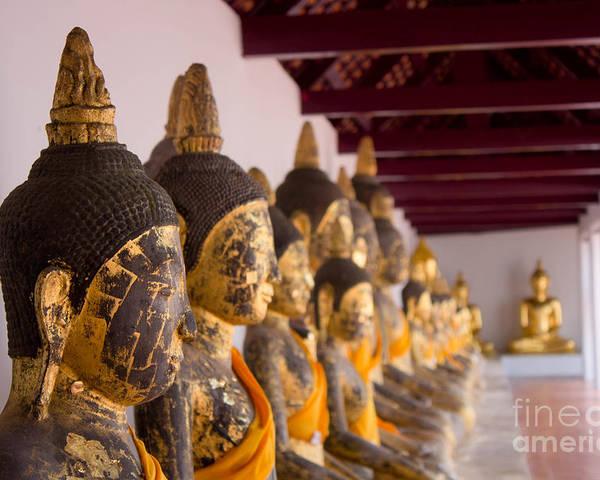 Buddha Culptures Poster featuring the sculpture Buddha Culptures by Asaha Ruangpanupan