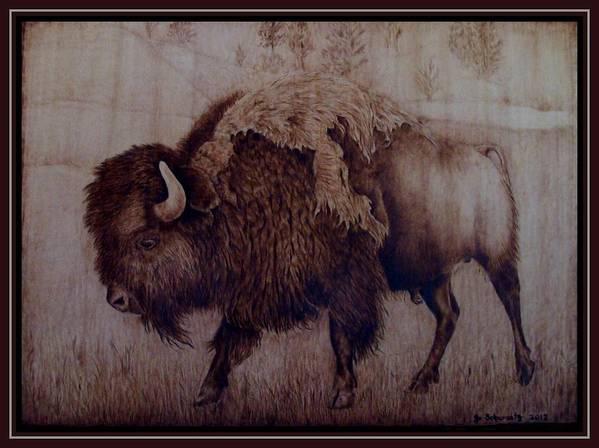 Pyrography Poster featuring the pyrography Bull Attitude by Jo Schwartz