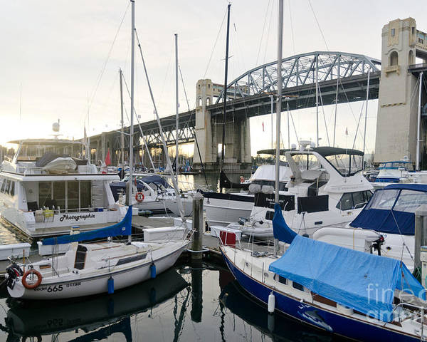Marina Poster featuring the photograph Burrard Marina Street Bridge Downtown Vancouver Bc Canada by Andy Smy