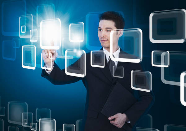 Business Poster featuring the photograph Businessman Pressing Touchscreen by Setsiri Silapasuwanchai