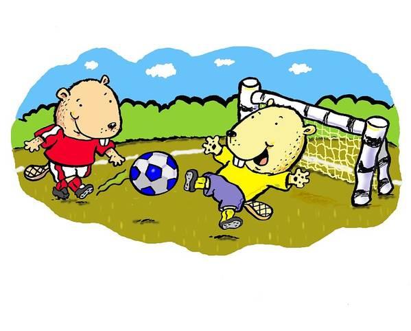 Scott Nelson Poster featuring the digital art Busy Beaver Soccer by Scott Nelson