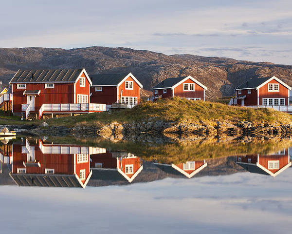 Horizontal Poster featuring the photograph Cabins At Sommaroy, Tromso, Norway by David Clapp