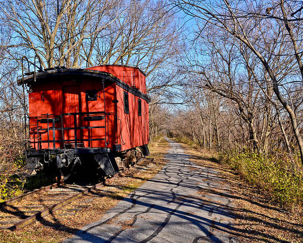 Caboose Poster featuring the photograph Caboose Among The Tree Shadows by Julio n Brenda JnB