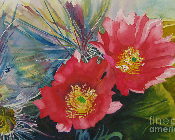 Cactus Poster featuring the painting Cactus Bloom by Margaret Westcamp
