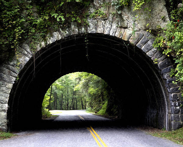 Cades Cove Poster featuring the photograph Cades Cove Tunnel by Mike Aldridge