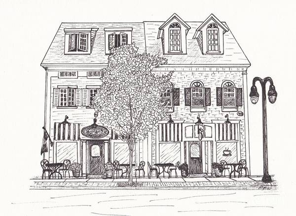 Architectural Drawing Poster featuring the drawing Cafe Mantic by Michelle Welles