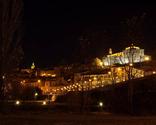 Calahorra Poster featuring the photograph Calahorra At Night by RicardMN Photography