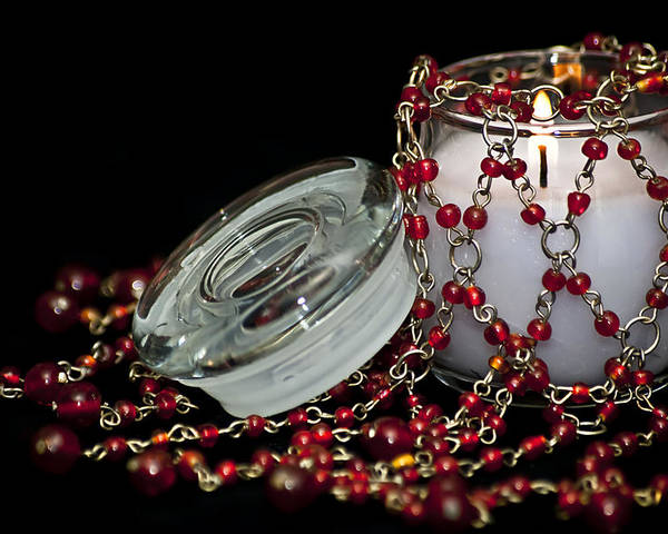 Candle Poster featuring the photograph Candle And Beads by Carolyn Marshall